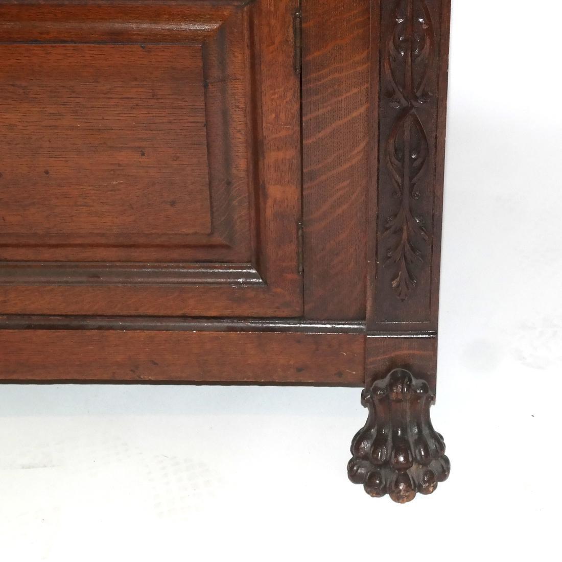 Antique Ornate Golden Oak Sideboard - 3