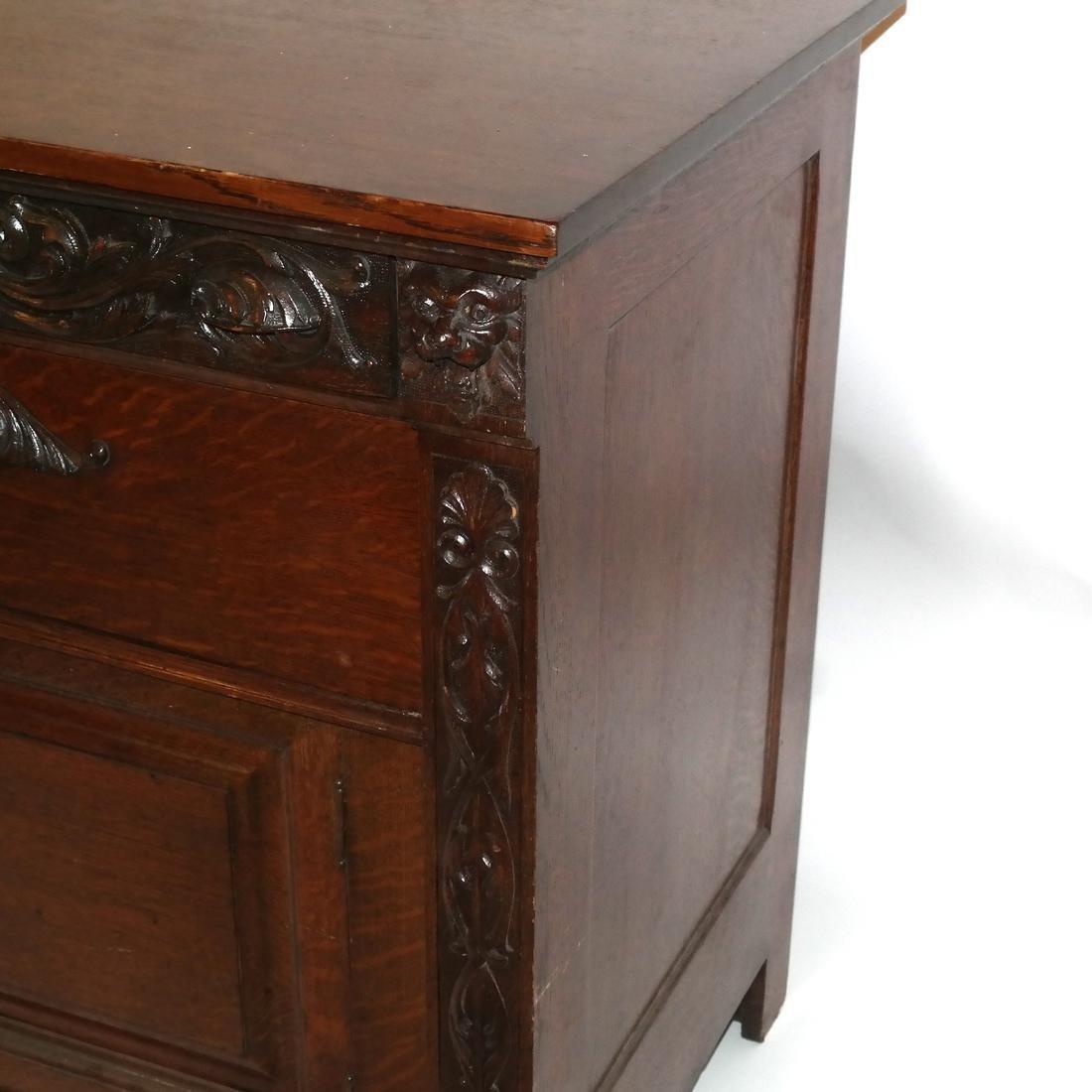 Antique Ornate Golden Oak Sideboard - 4