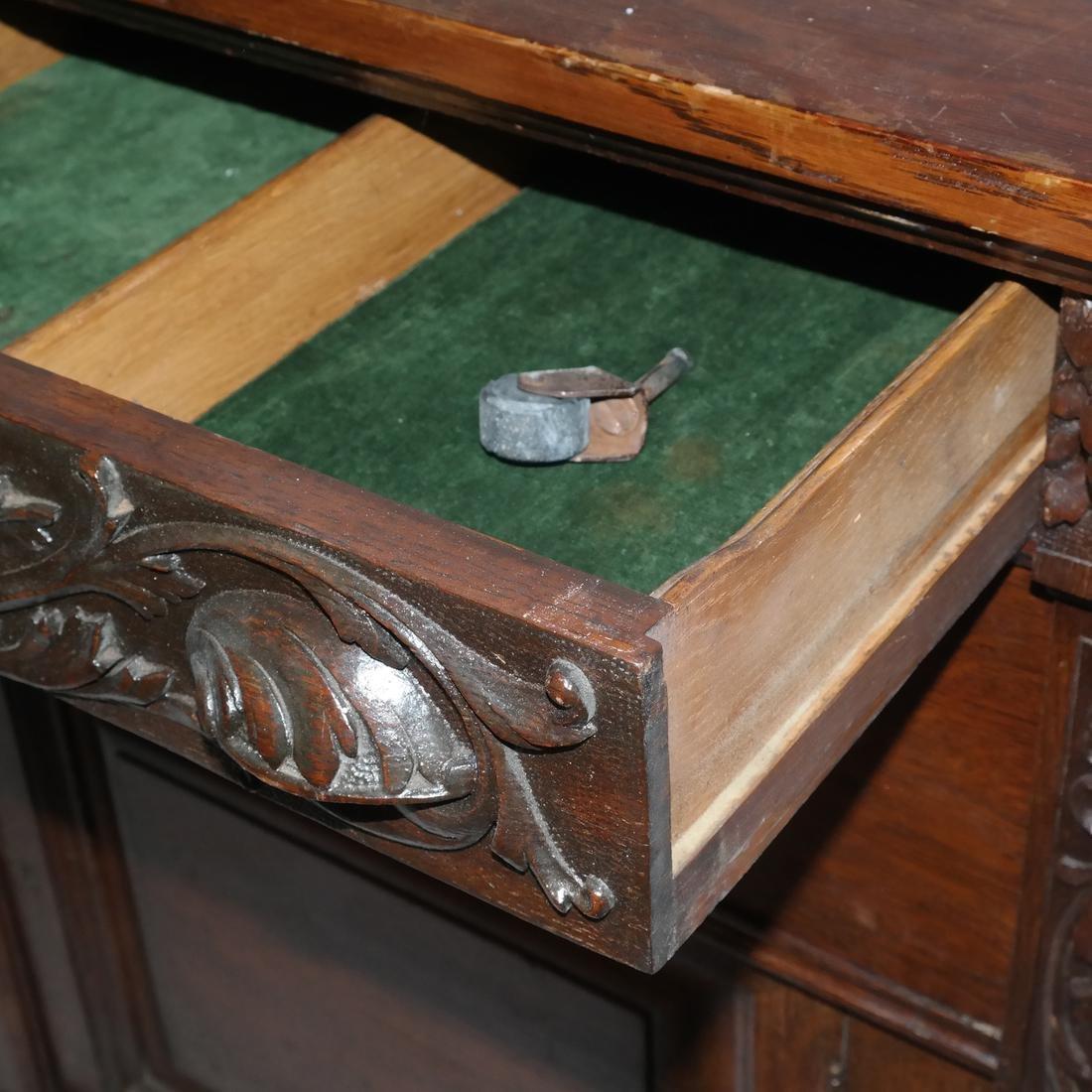 Antique Ornate Golden Oak Sideboard - 5