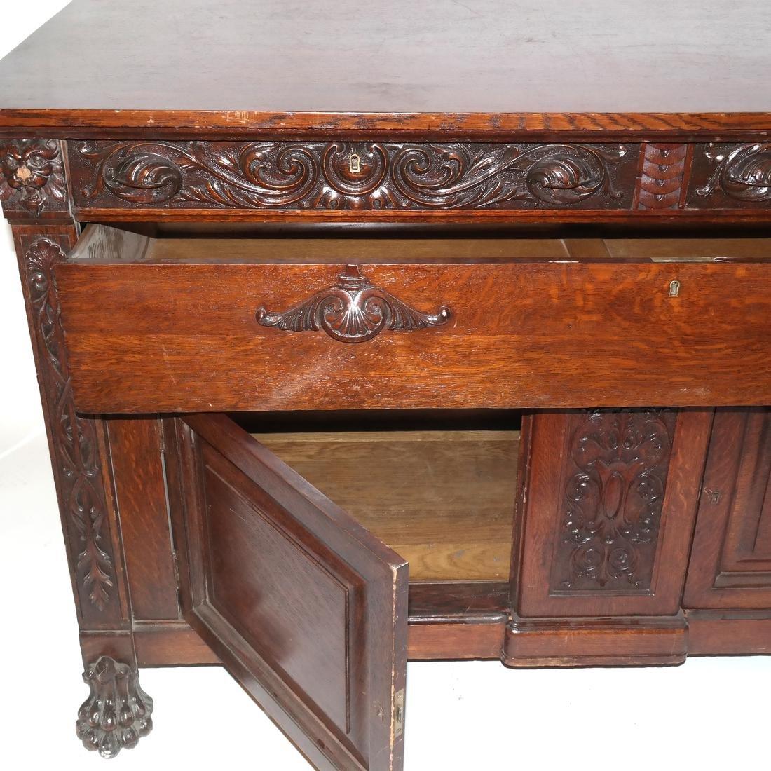 Antique Ornate Golden Oak Sideboard - 6