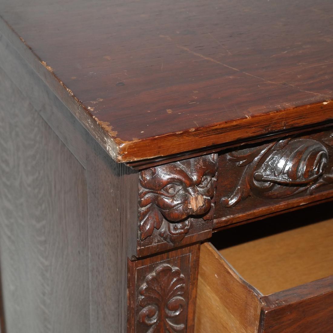 Antique Ornate Golden Oak Sideboard - 7