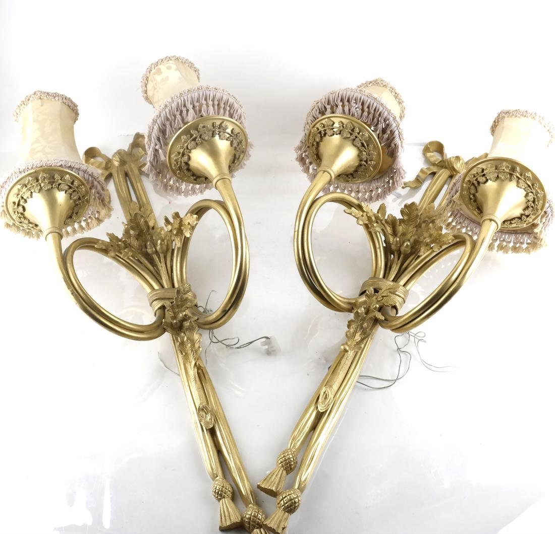 Pair of Bronze Dore Two-Light Sconces
