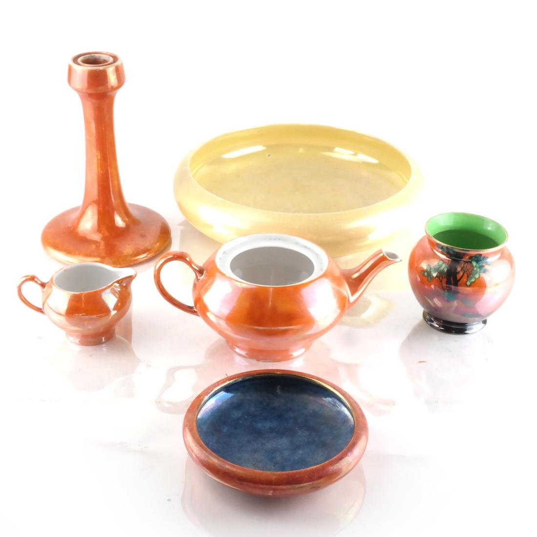 Six Pottery Objects Including English