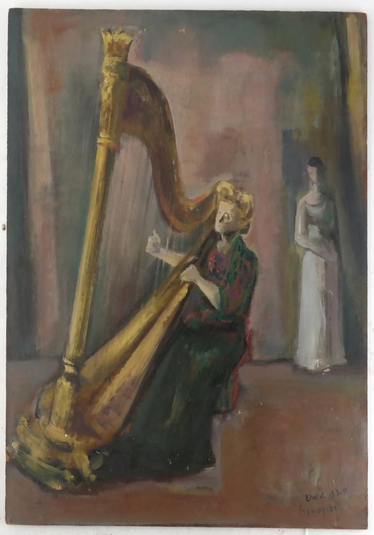 Marcel Cramoysan, Portrait of Harpist - 2