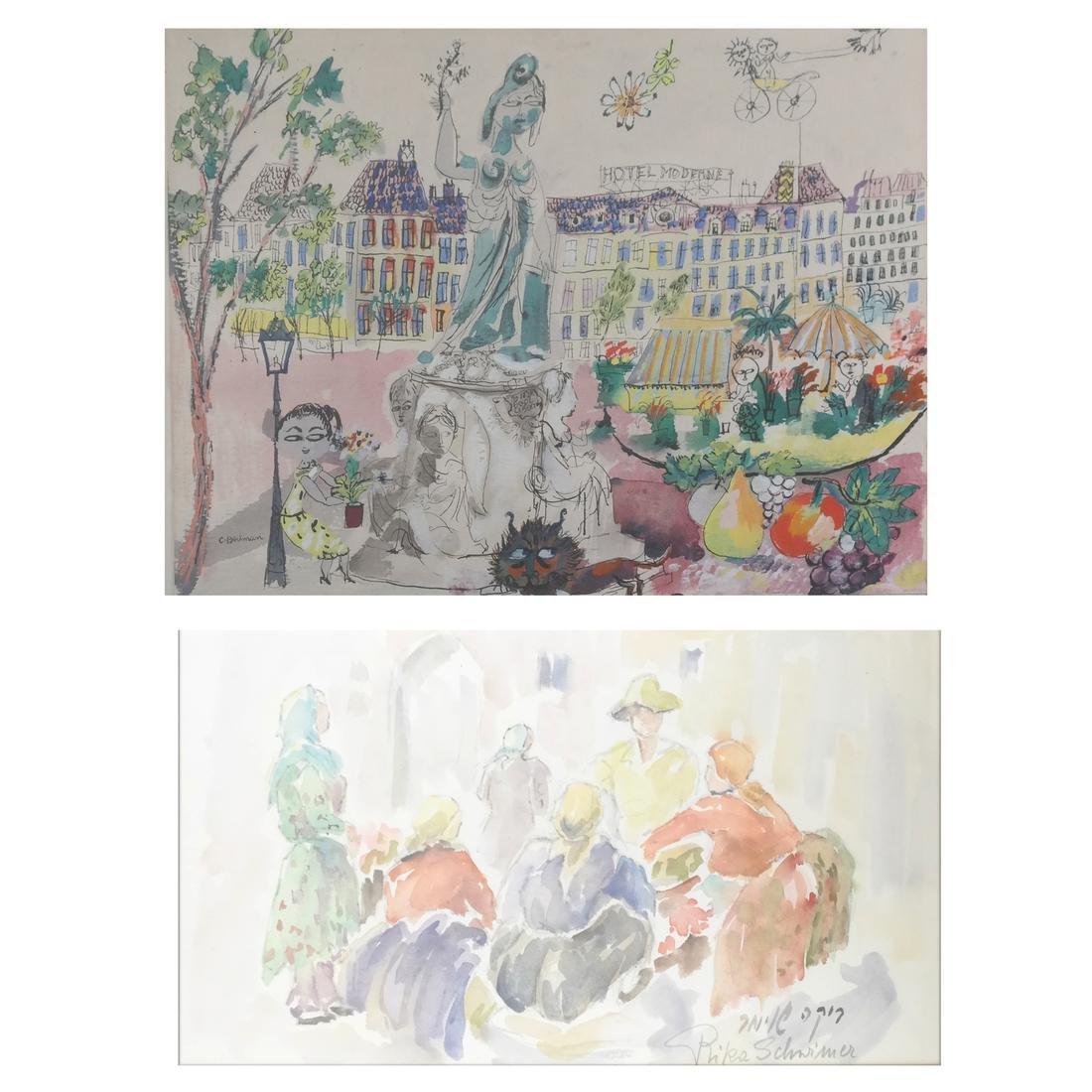 2 Watercolors: C. Berkman and Rika Schermer