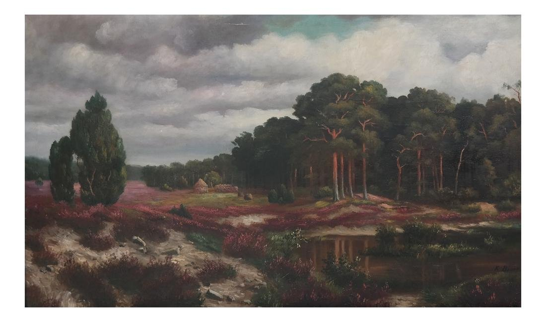 K. Bauer River Landscape, Oil on Canvas