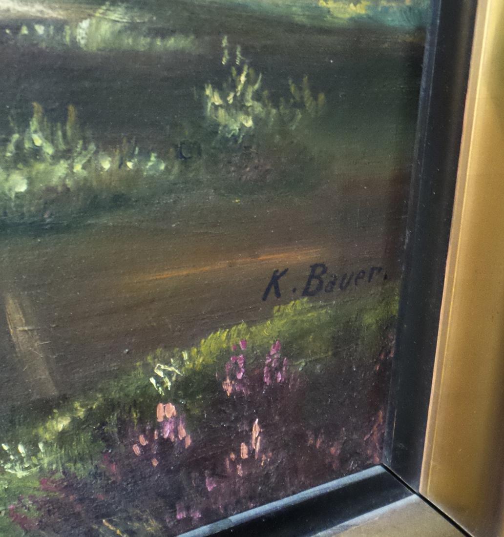 K. Bauer River Landscape, Oil on Canvas - 6