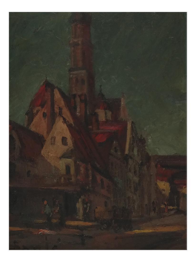 Village Scene - Oil on Board