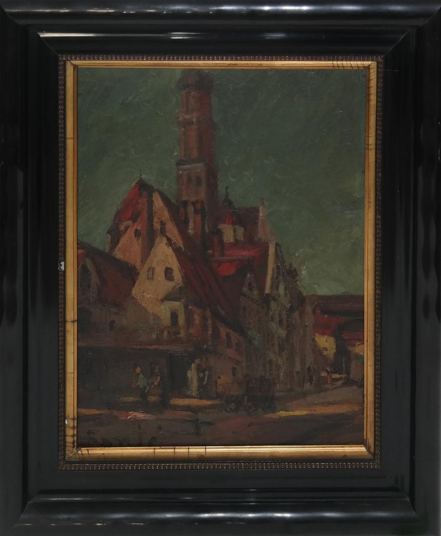Village Scene - Oil on Board - 2