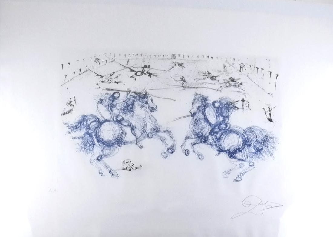 "Salvador Dali, ""Combat des Caveliers"" - Etching"