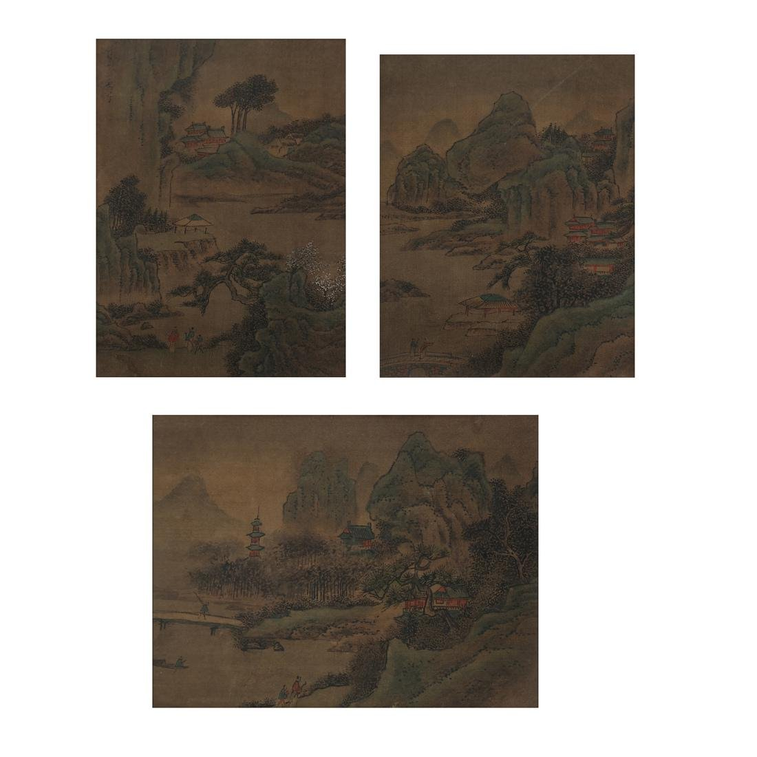 3 Chinese Paintings, Landscape Panels