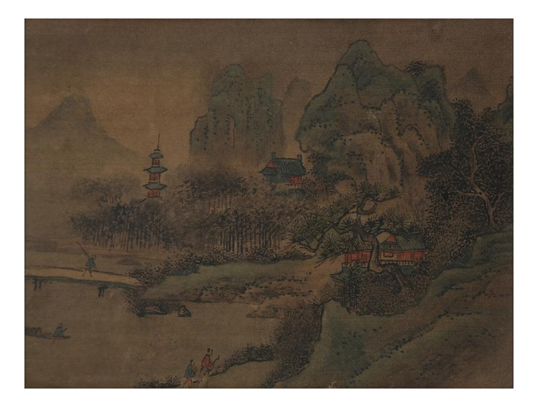 3 Chinese Paintings, Landscape Panels - 3