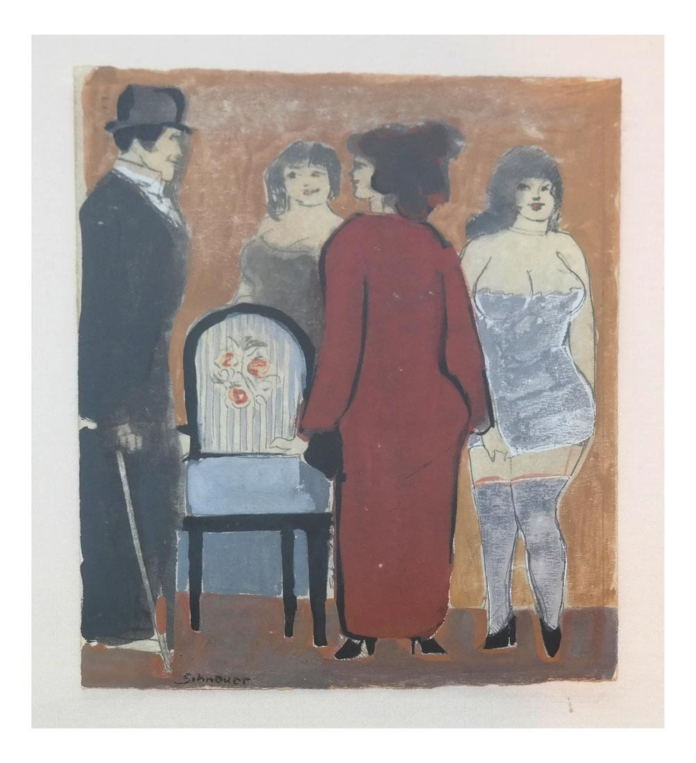 David Schneuer, Figures - Lithograph