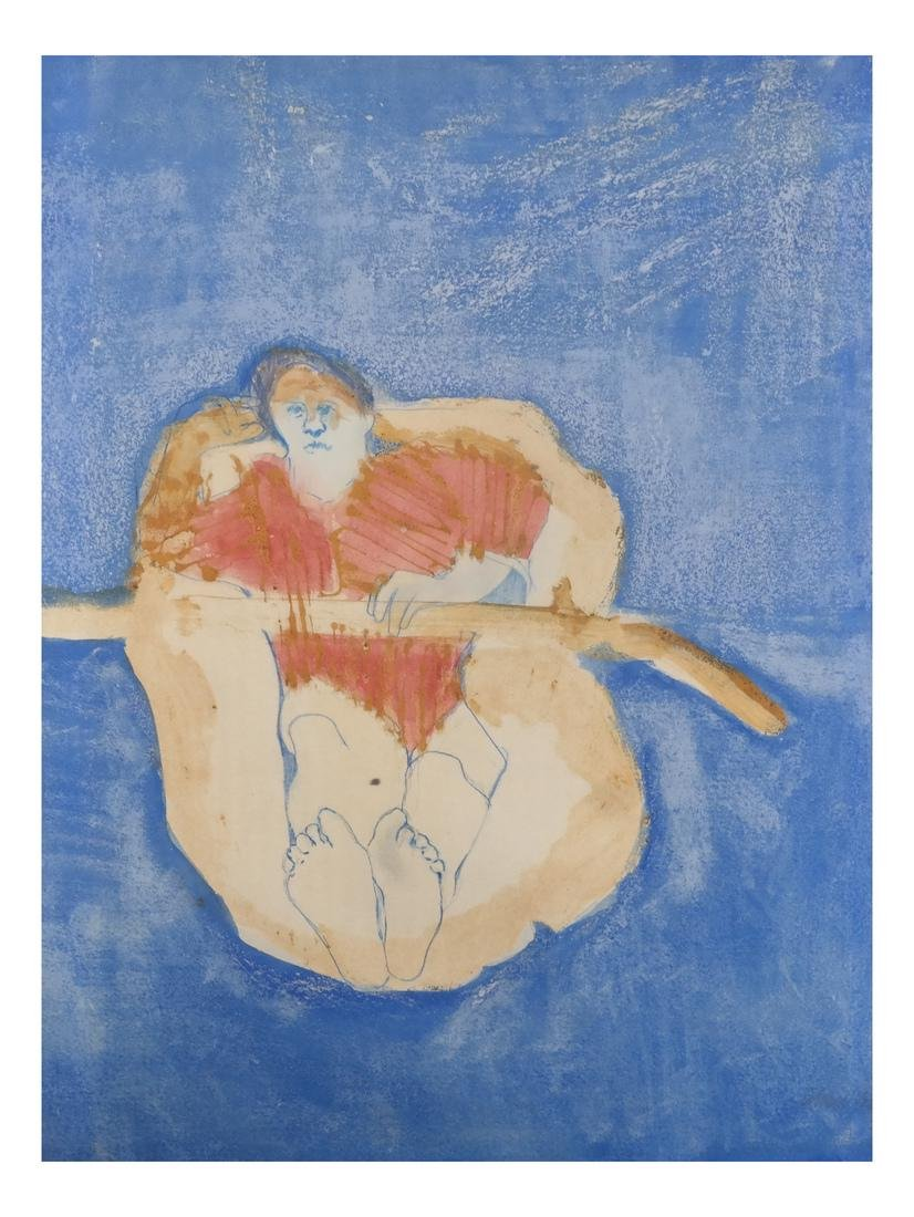 Judy Cohen, Modernist Painting - Man in Raft