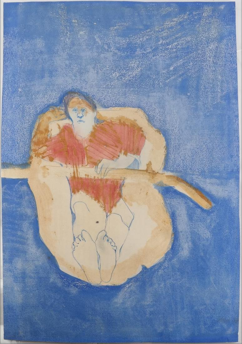 Judy Cohen, Modernist Painting - Man in Raft - 2