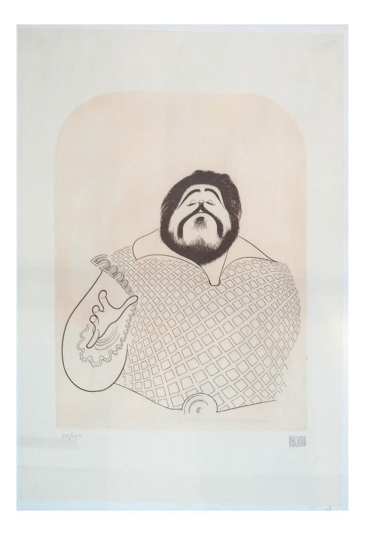 "Albert Hirschfeld Print ""Pavarotti"""