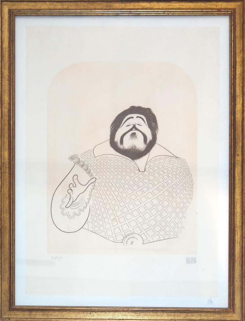 "Albert Hirschfeld Print ""Pavarotti"" - 2"