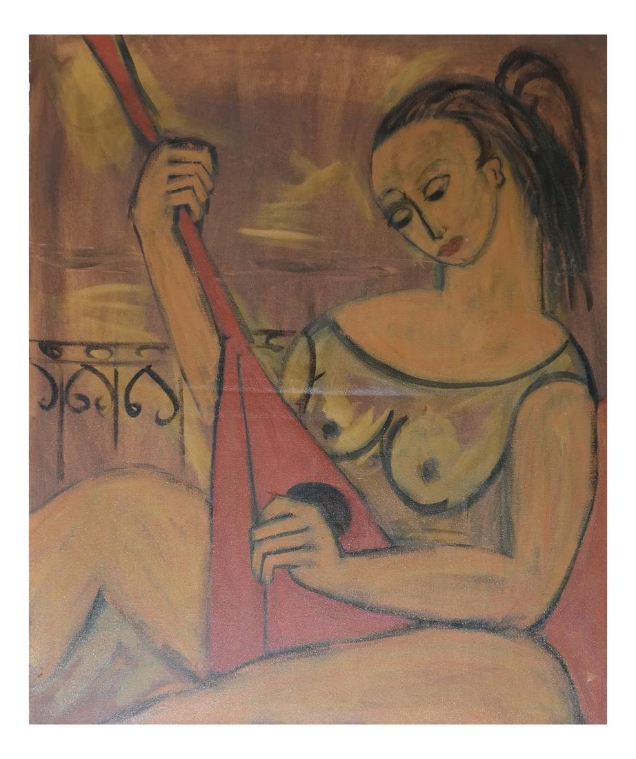 Woman With Lute, Modern Painting
