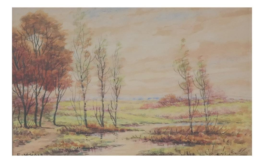 E.M. Hall - Field Landscape Watercolor