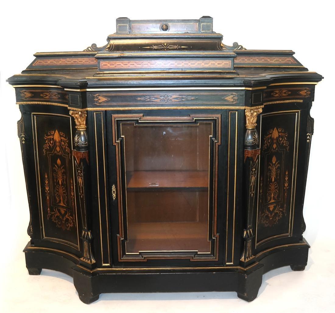 Victorian Ebonized Inlaid Credenza