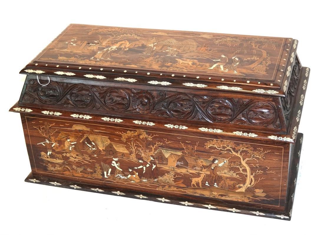 Antique Indian Exotic Wood Inlaid Chest/Cassone