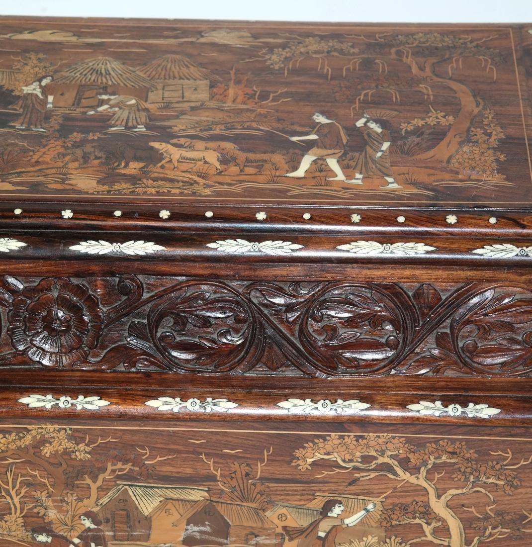 Antique Indian Exotic Wood Inlaid Chest/Cassone - 2