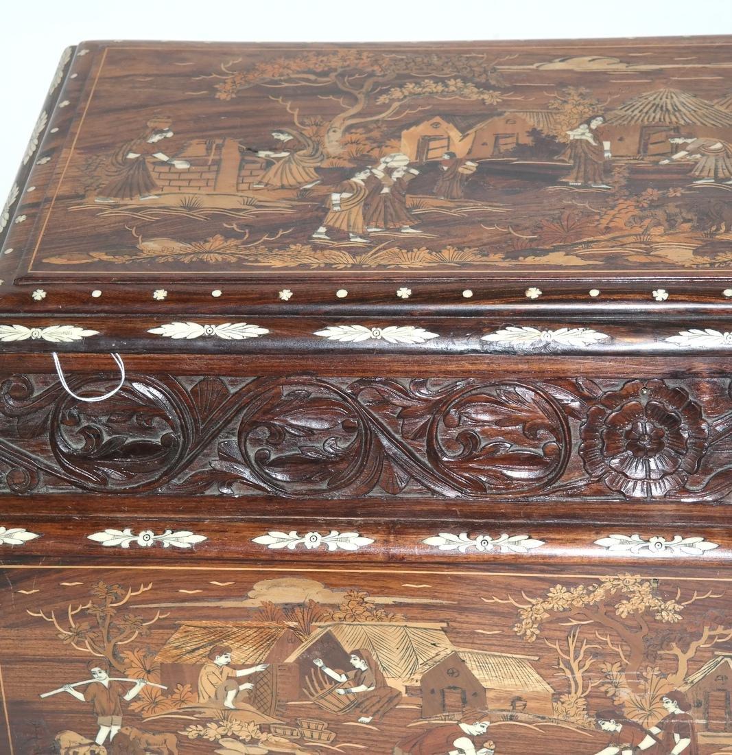 Antique Indian Exotic Wood Inlaid Chest/Cassone - 3