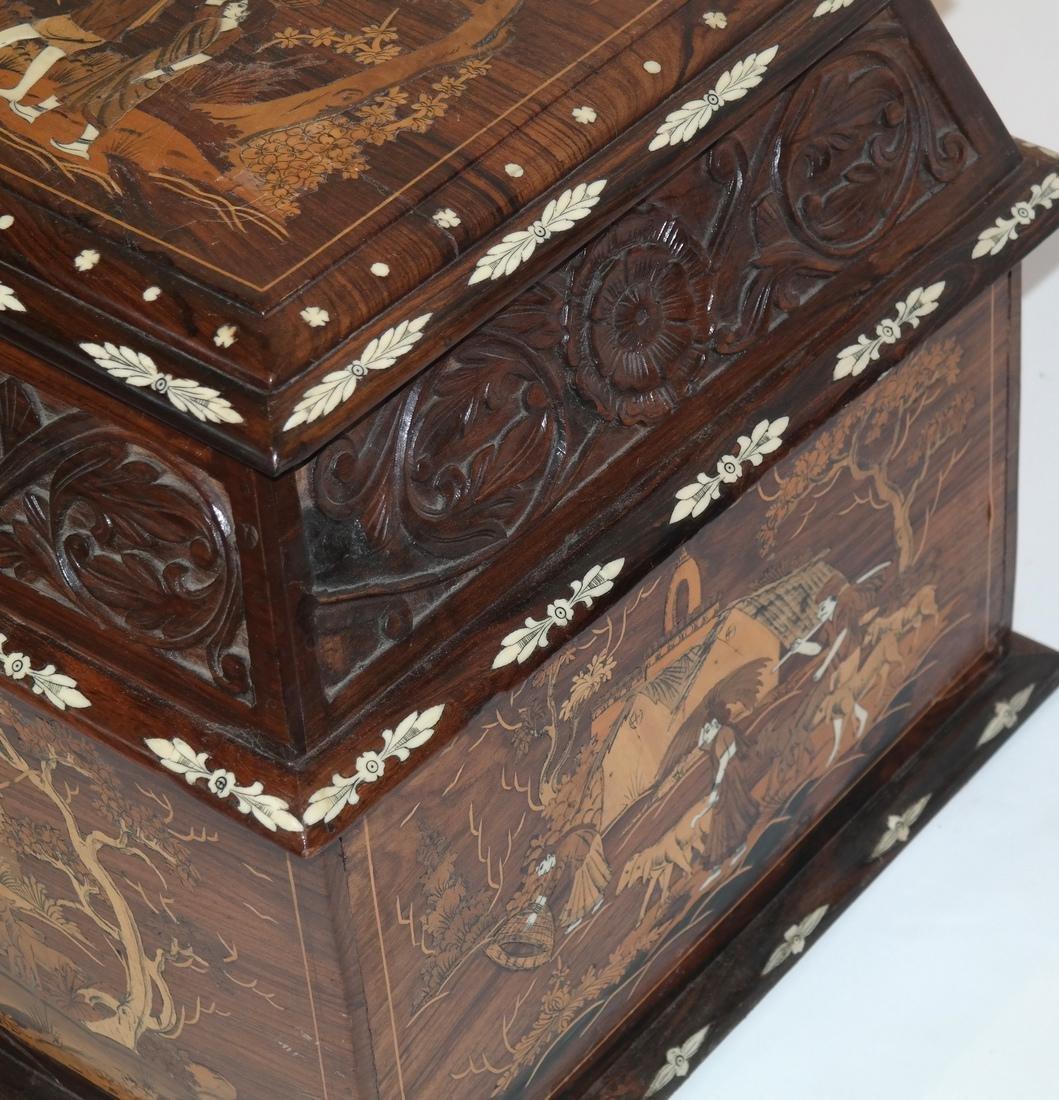Antique Indian Exotic Wood Inlaid Chest/Cassone - 4