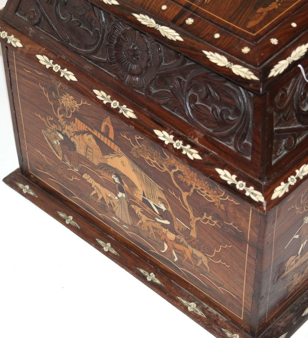 Antique Indian Exotic Wood Inlaid Chest/Cassone - 5