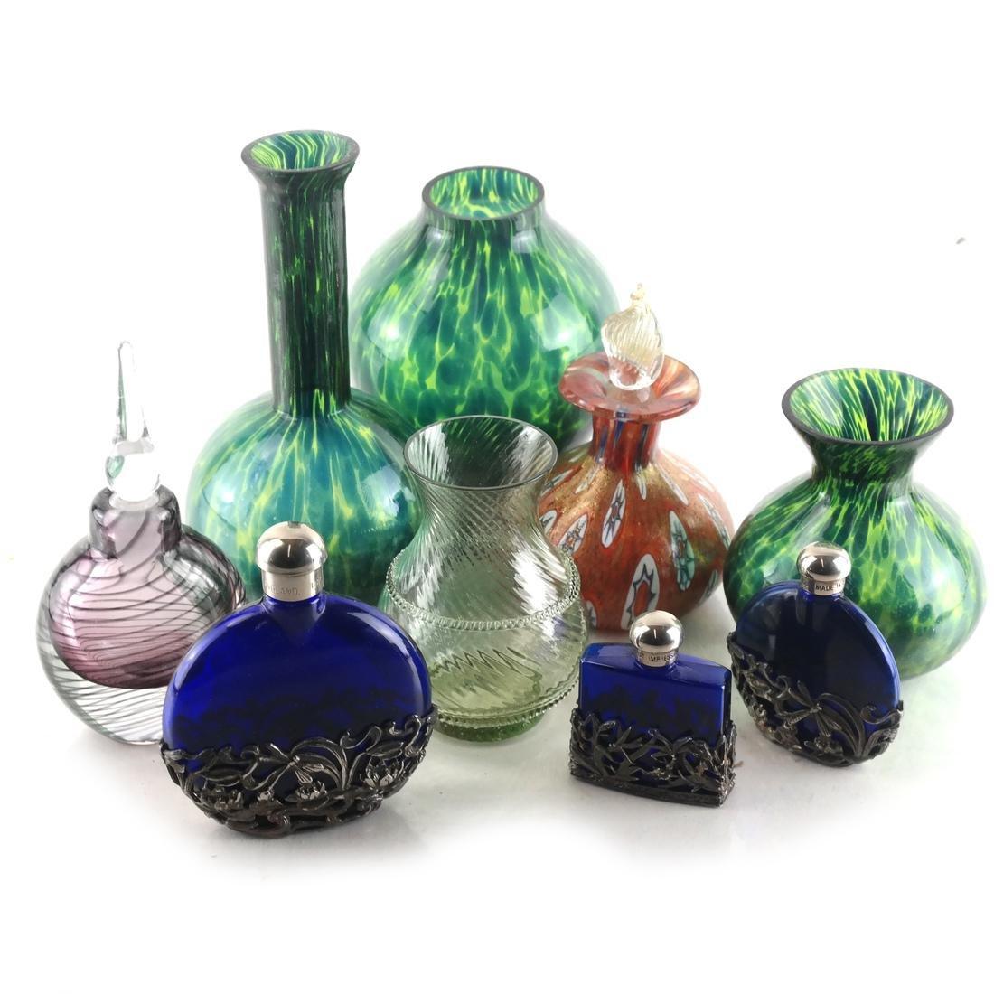 Nine Various Glass Vessels