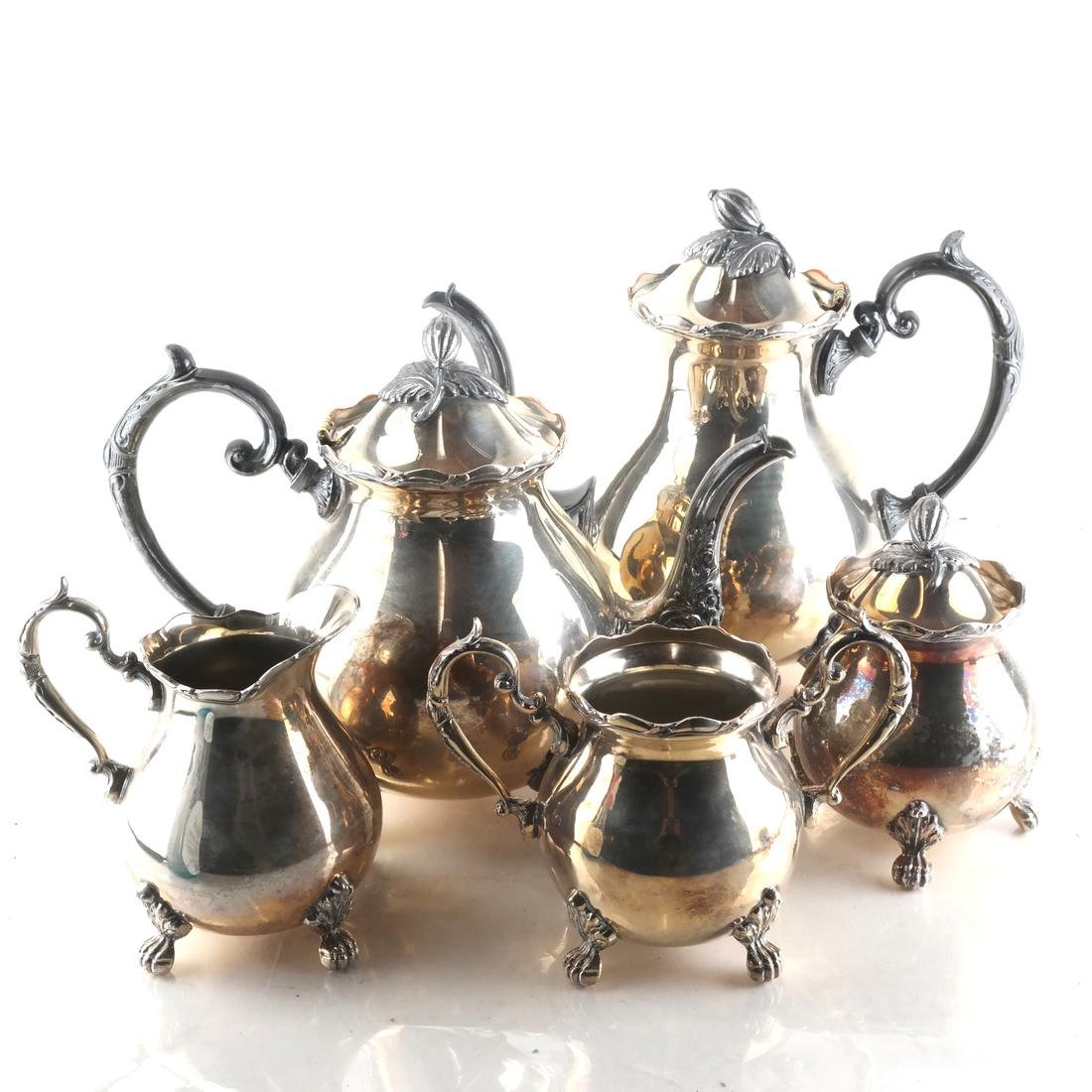 Sterling Silver English 5-Piece Tea Set