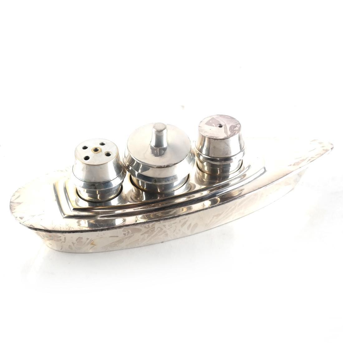 Silver-Plated Boat-Form Cruet