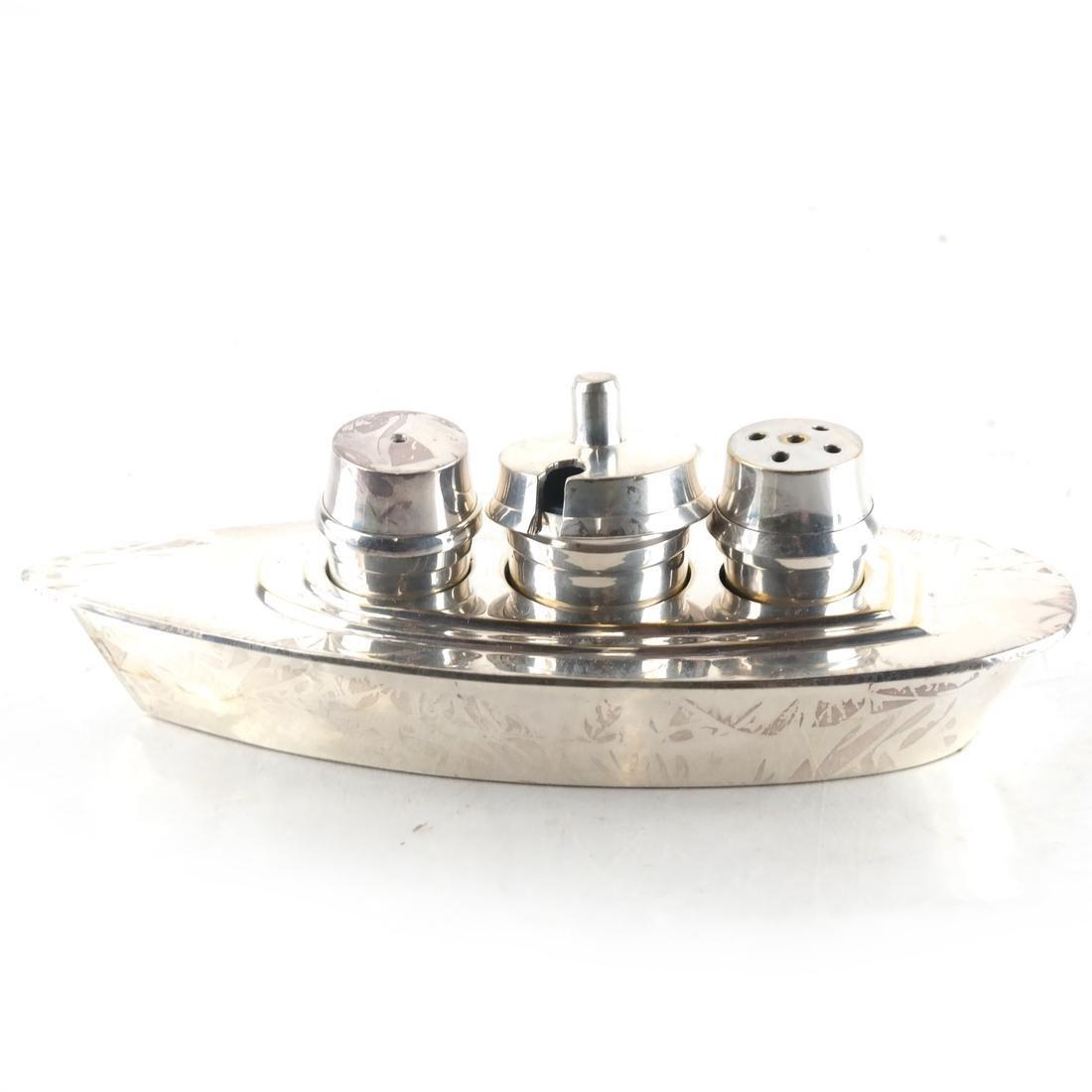 Silver-Plated Boat-Form Cruet - 2