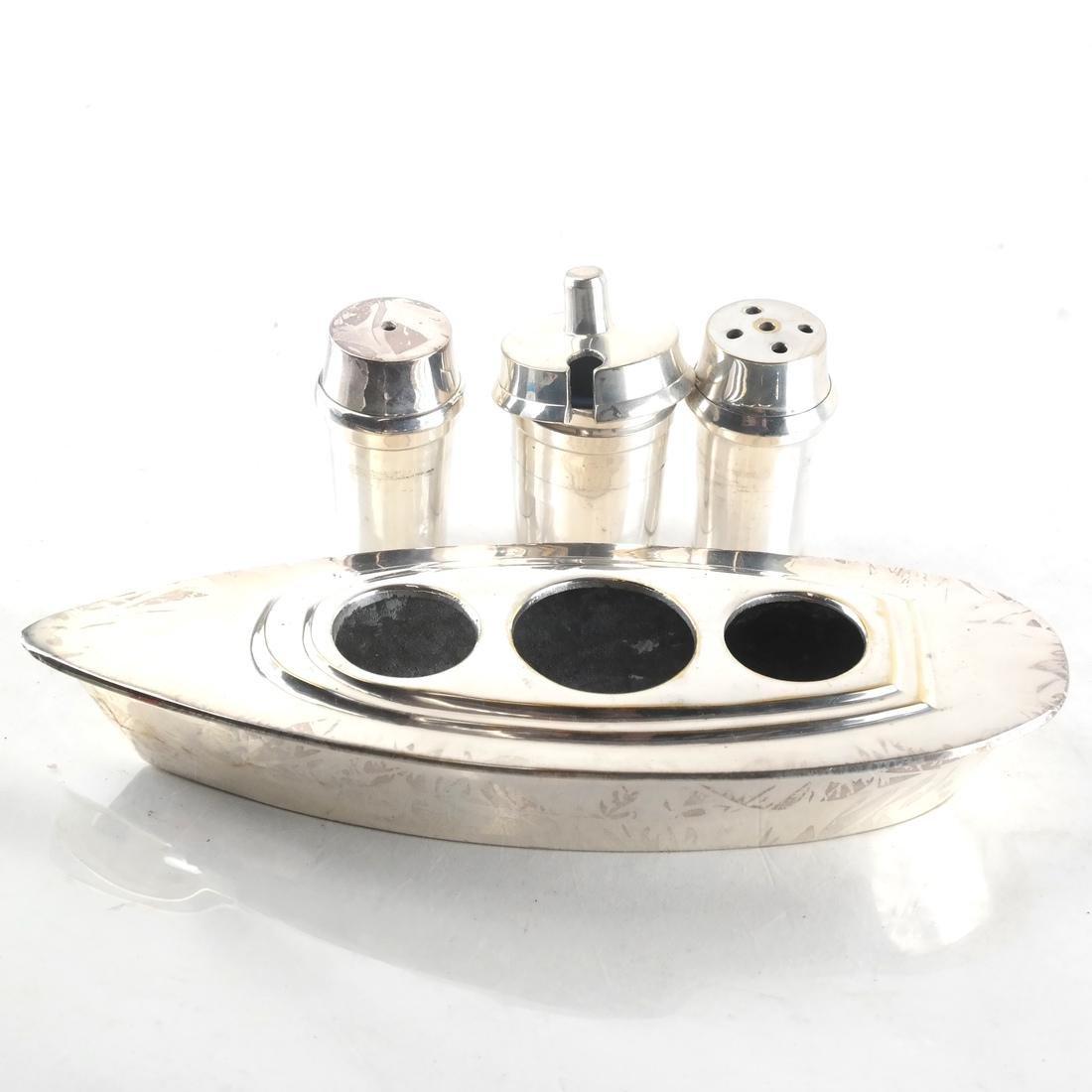 Silver-Plated Boat-Form Cruet - 4