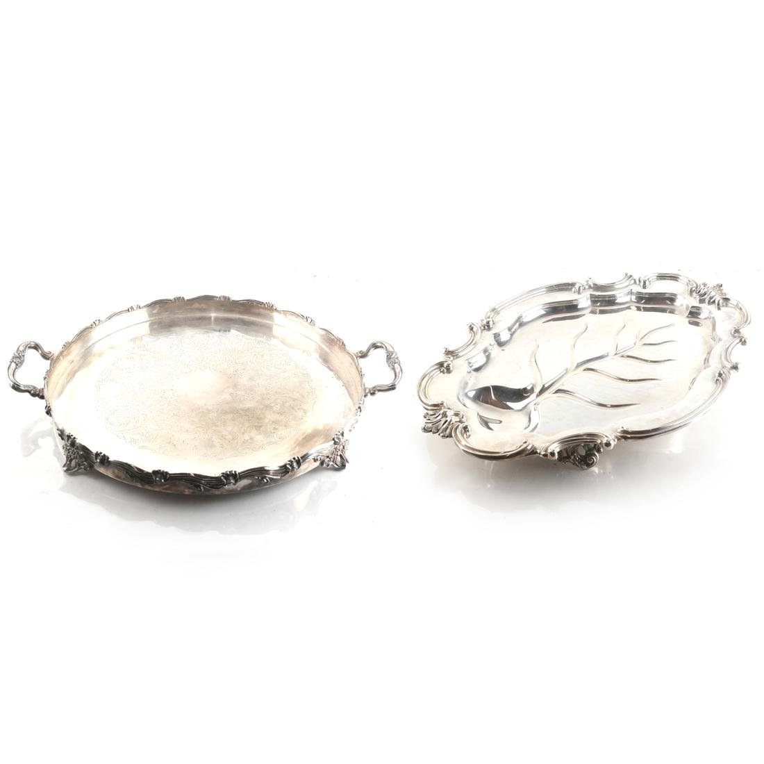 Two Silver-Plated Footed Trays