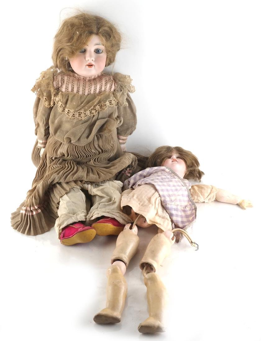 Two Dolls, Cloth and Porcelain