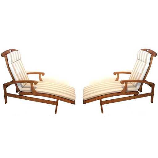 Pair Summit Teak Wood Lounge Chairs