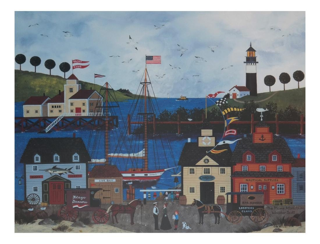 Wooster Scott, Maine Harbor - Lithograph