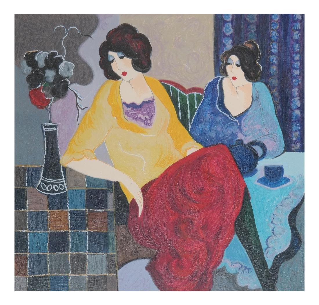Tarkay, Two Seated Women - Serigraph
