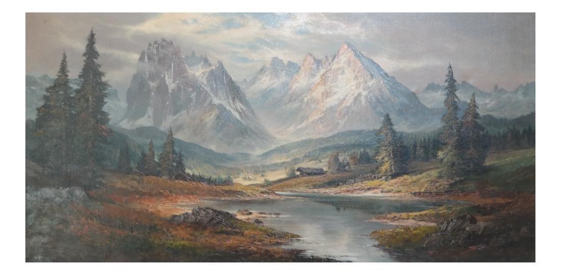 Mountain, River Landscape - O/C