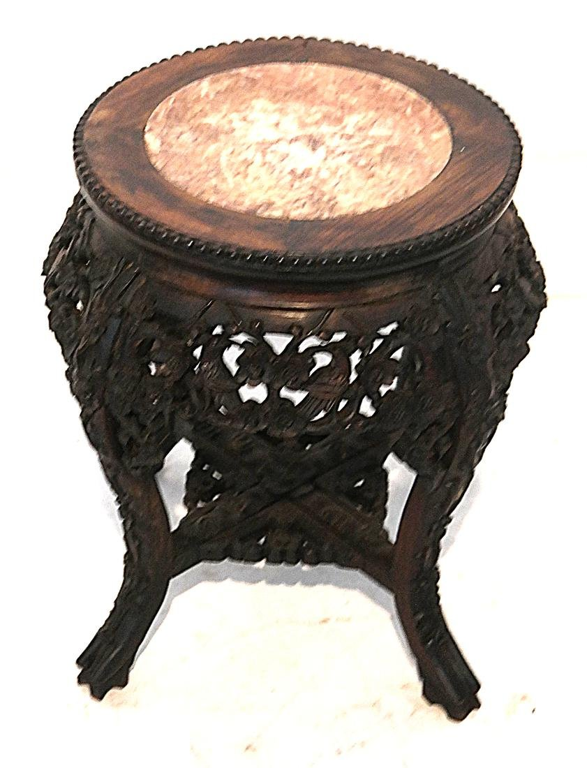 Chinese Carved Wood Tabouret