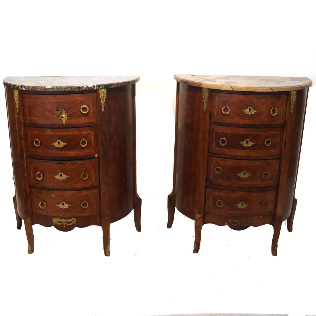 Pair of French Demilune Commodes