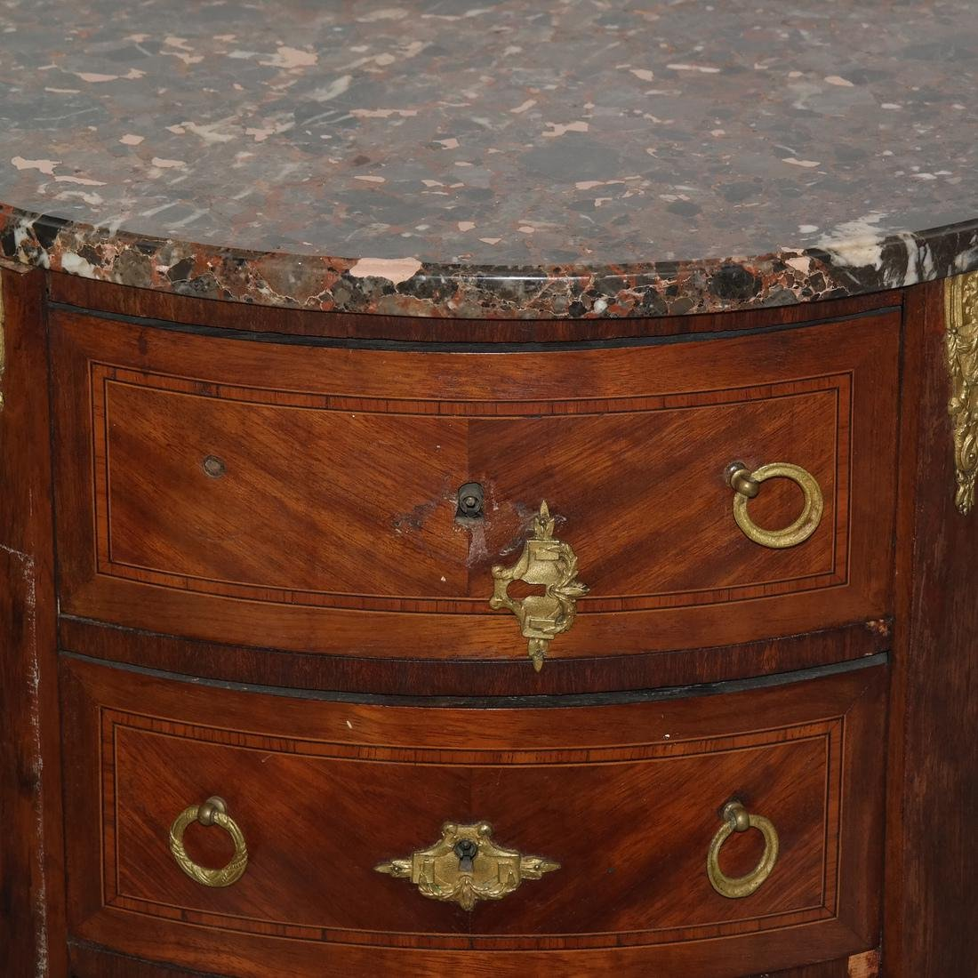 Pair of French Demilune Commodes - 2