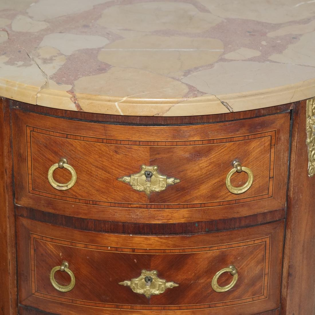Pair of French Demilune Commodes - 3