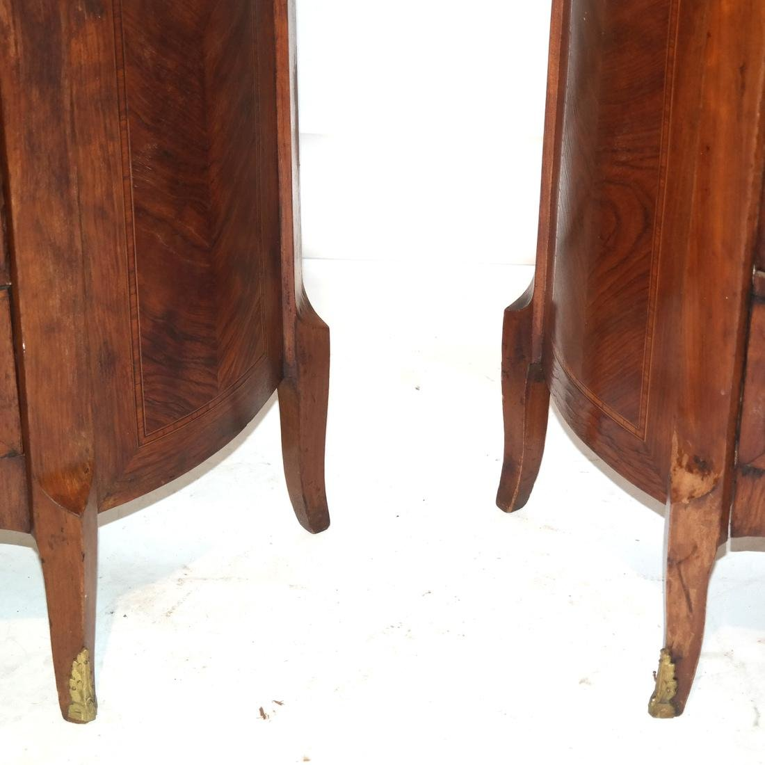 Pair of French Demilune Commodes - 4