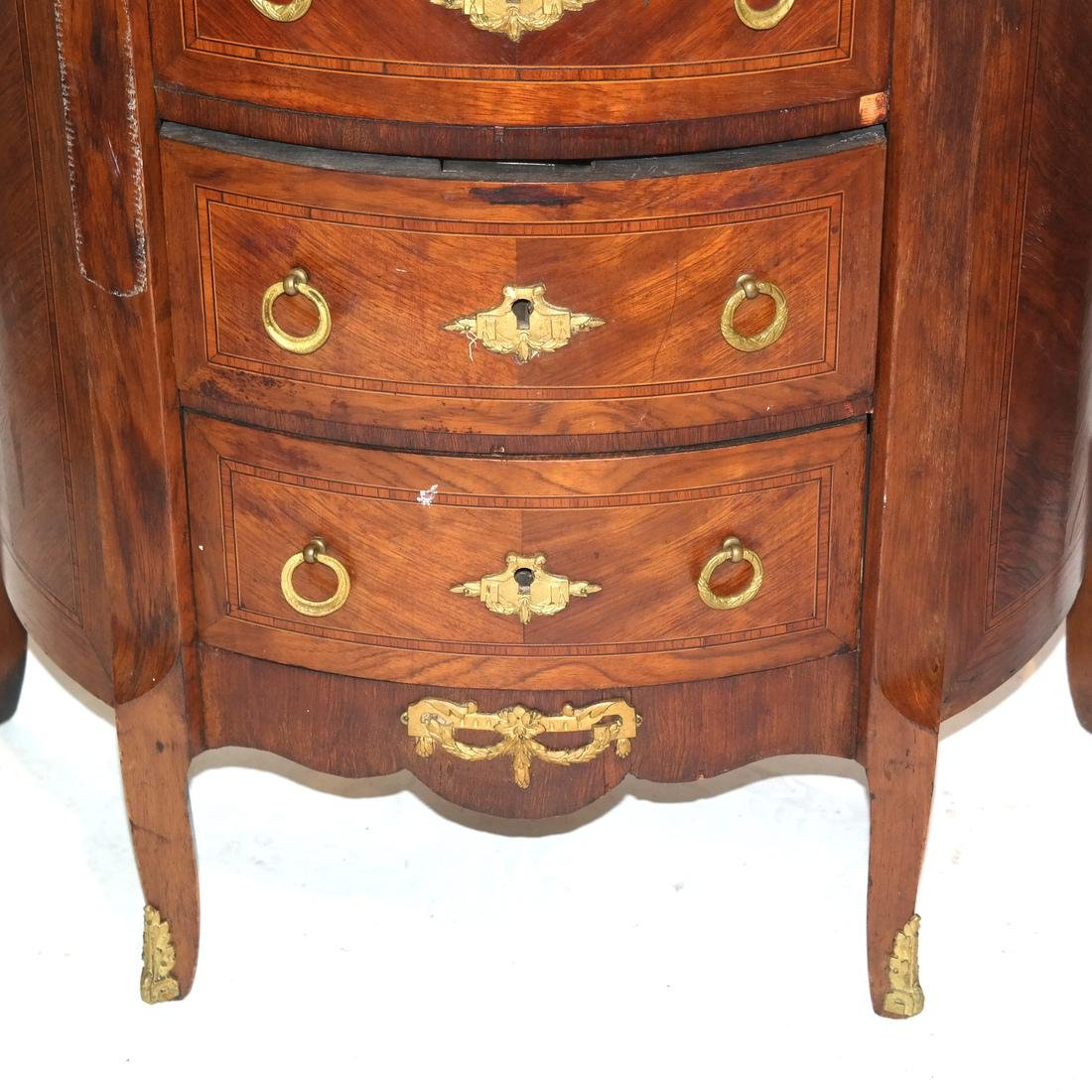 Pair of French Demilune Commodes - 5