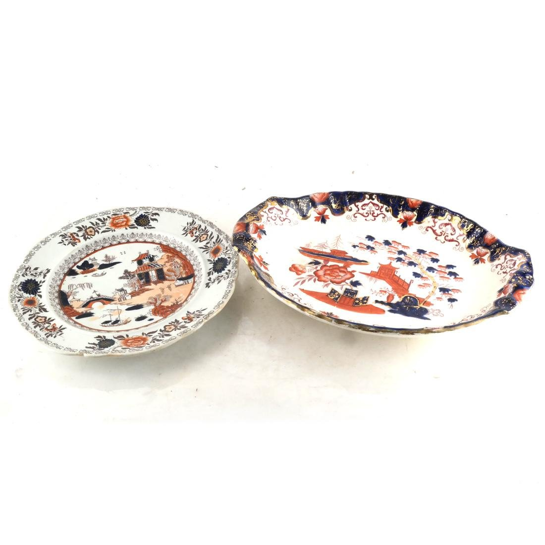 Two English Decorated Dishes
