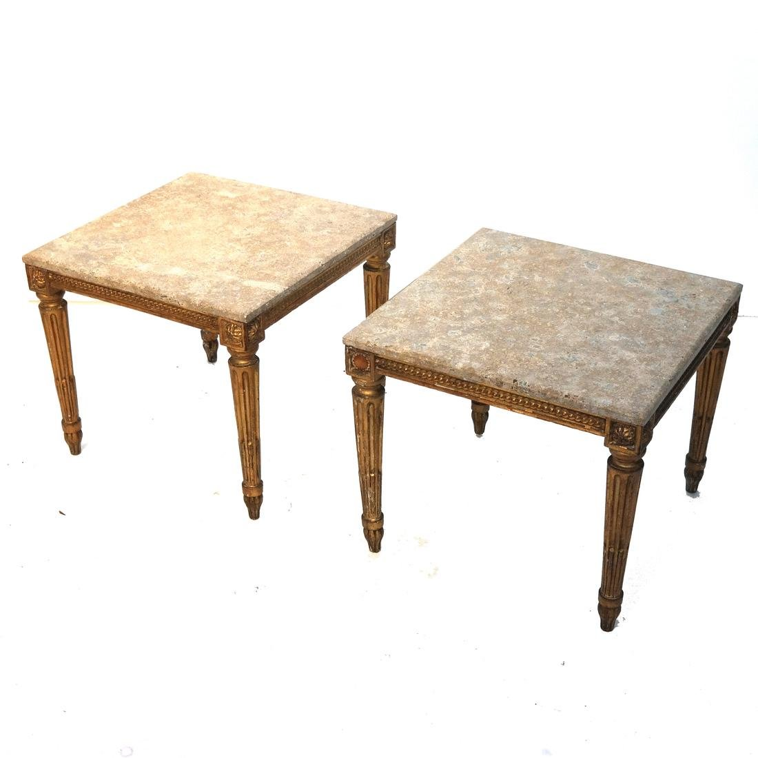 Pair French Marble Top Gilt Wood Tables