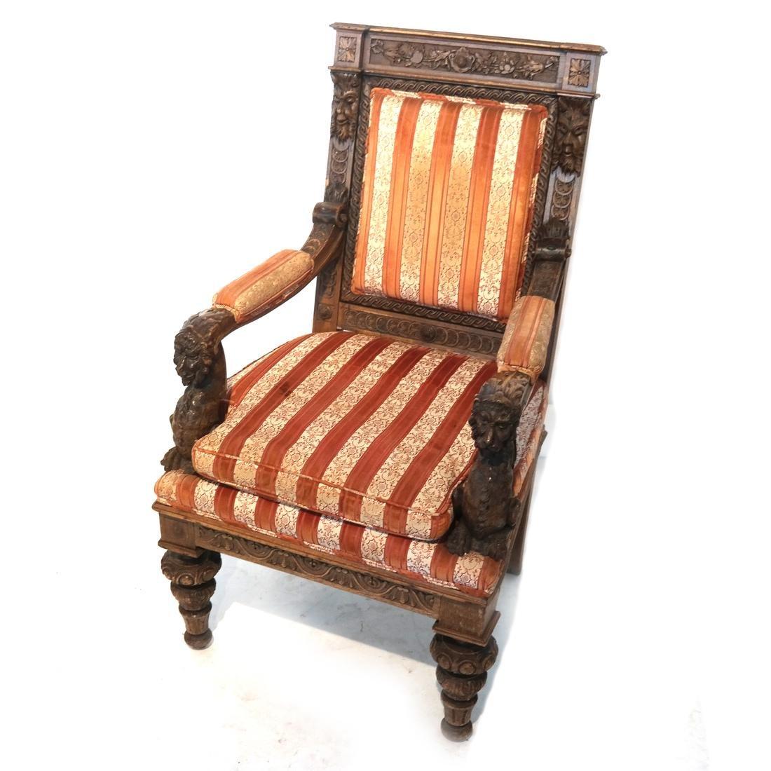Antique Ornate English Oak Armchair