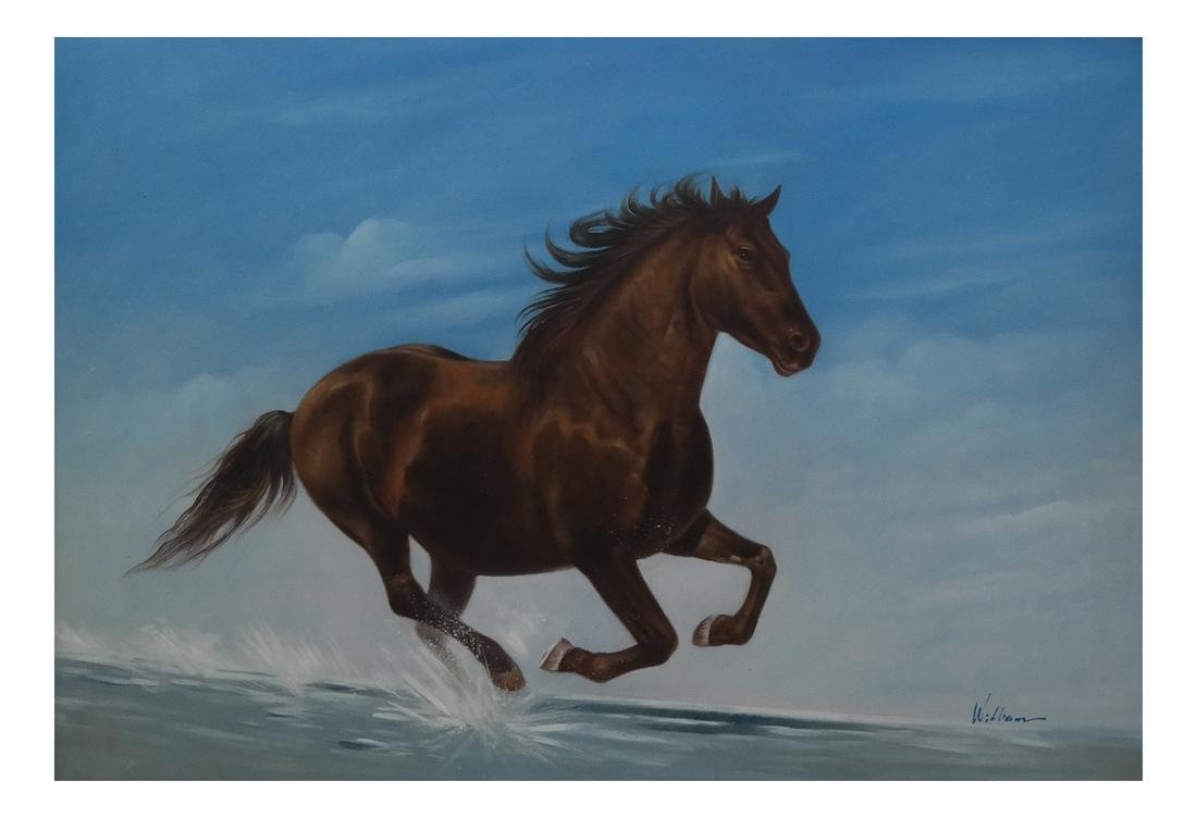 Modern Oil on Canvas Painting of Horse